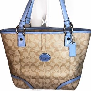 Coach ~ Signature ~ Tan & Baby Blue Coated Canvas